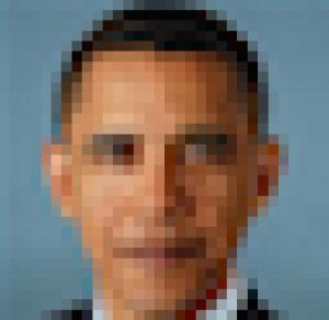 Pixelated image of President Obama.