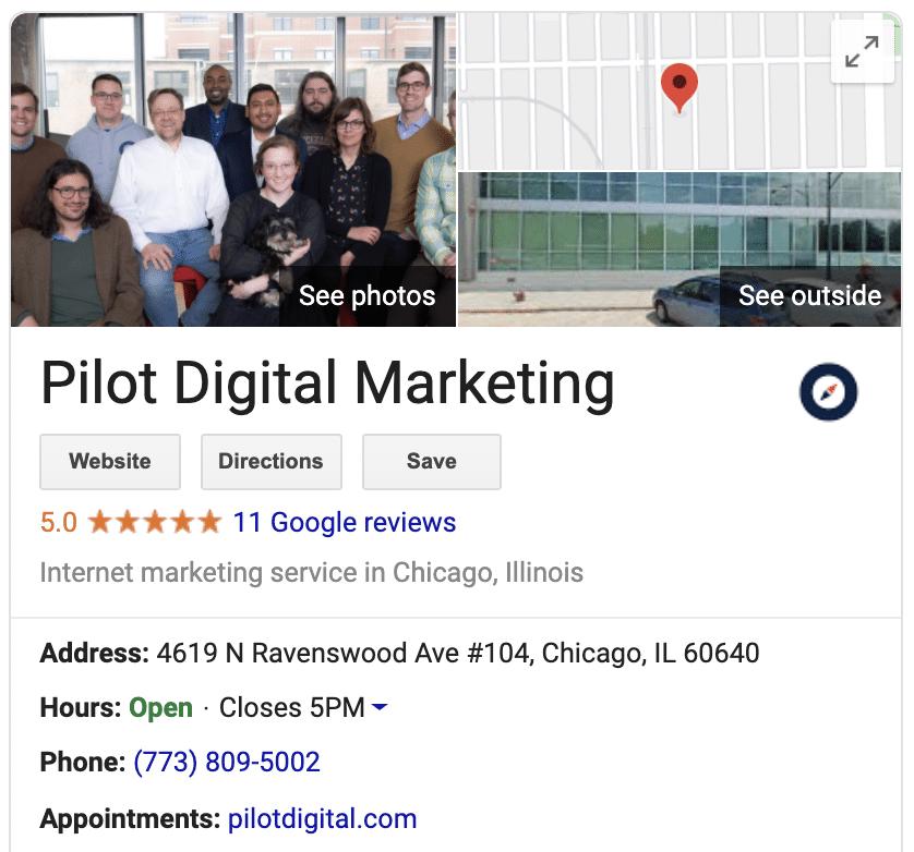 pilot's google my business listing
